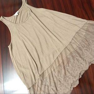 Flowy Tan Lace Trim Sleeveless Tunic by Umgee.